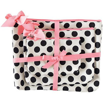 Jessie Steele 906-JS-68C Cream And Black Polka Dot 3 Piece Gift Set Pack Of 2