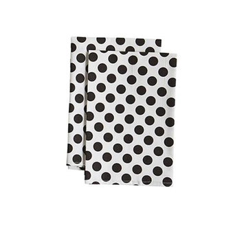 Jessie Steele 23-JS-68W White And Black Polka Dot Cloth Napkin Pack Of 2