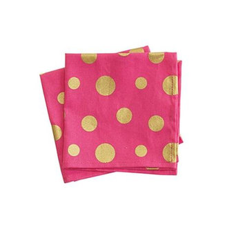 Jessie Steele 24-JS-261P Pink & Gold Retro Polka Dot 4-Piece Cloth Cocktail Napkin Set Pack Of 2