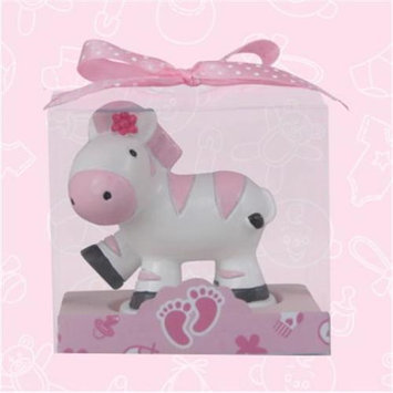 De Yi Enterprise De Yi 11002-PK Safari Zebra Candle Favors in Pink - Set of 12