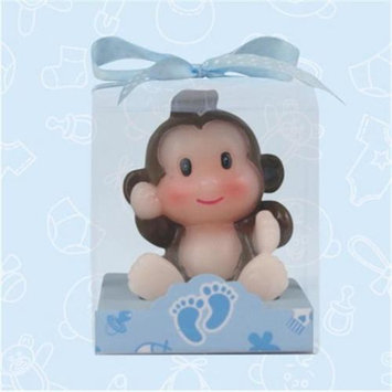 De Yi Enterprise De Yi 11004-BL Safari Monkey Candle Favors in Blue - Set of 12
