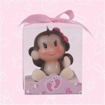 De Yi Enterprise De Yi 11004-PK Safari Monkey Candle Favors in Pink - Set of 12