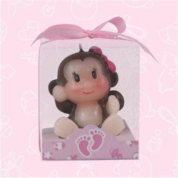 De Yi Enterprise De Yi 11004-PK Safari Monkey Candle Favors in Pink - Set of 12