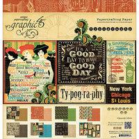 Graphic 45 G4500774 Graphic 45 Paper Pad 12X12 24/Pkg-Typography