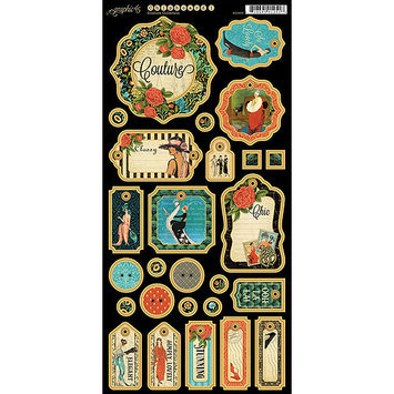 Graphic 45 G4500833 Couture Chipboard Die-Cuts 6 in. X12 in. Sheet-Tags Number 1