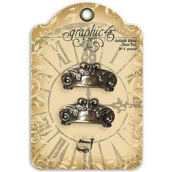 Graphic Staples Ornate Metal Door Pulls 2/Pkg-Shabby Chic With 4 Brads