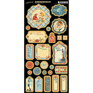 Graphic 45 G4500910 By The Sea Chipboard Die-Cuts 6 in. X12 in. Sheet