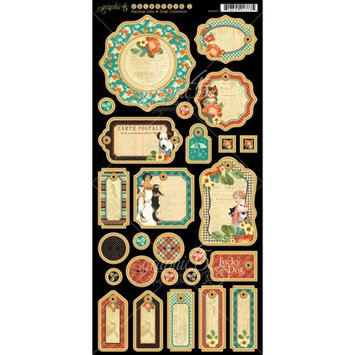 Graphic 45 Raining Cats & Dogs Chipboard Die-Cuts 6