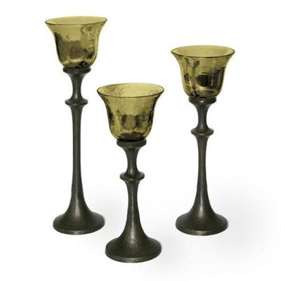 Mwcbk Midwest CBK EA1022 Set of 3 Goblet Candleholders Palmgreen - Glass And Metal