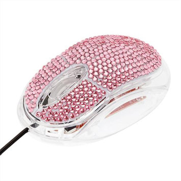 Crystal Case Pink Rhinestone USB Optical Computer Mouse LED Scroll Wheel NEW NWT