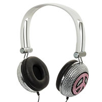 Crystal Case Pink Peace Crystal Rhinestone DJ Headphones Headset