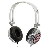 Crystal Case Pink Peace Crystal Rhinestone DJ Headphones Headset