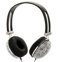 Crystal Case Silver Crystal Rhinestone Bling Dj Over-ear Headphones