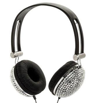 Crystal Case Silver Crystal Rhinestone Bling Dj Over-ear Headphones