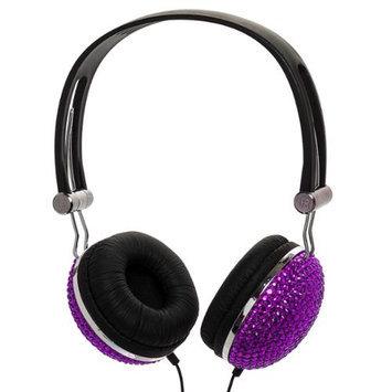 Crystal Case Dark Purple Crystal Rhinestone Bling Dj Over-ear Headphones