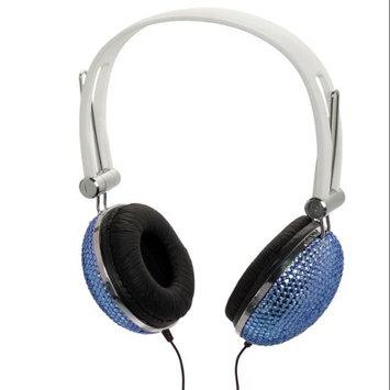 Crystal Case Aqua Blue Crystal Rhinestone DJ Headphones Headset Earphones BLING!