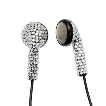 Crystal Case Silver (Black Cord) Crystal Rhinestone Earphones Earbuds with Microphone