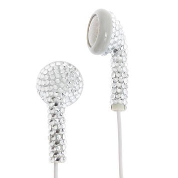Crystal Case Silver (White Cord) Crystal Rhinestone Earphones Earbuds with Microphone