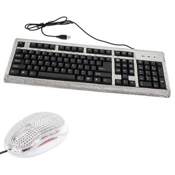 Crystal Case 2 Pack/Set Silver Crystal Rhinestone USB Computer Keyboard + Mouse