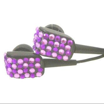 Crystal Case Purple Two Tone Crystal Rhinestone Bling Earphones Earbuds 3.5mm