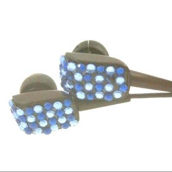 Crystal Case Blue Two Tone Crystal Rhinestone Bling Earphones Earbuds 3.5mm