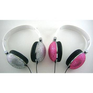 Crystal Case 2X Silver Pink Crystal Rhinestone DJ Headphone Earphone