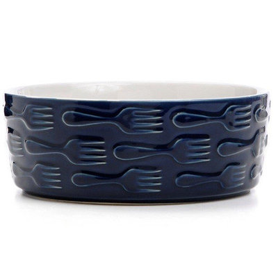 Waggo Set the Table Fork Bowl Capacity: 2 Cups, Color: Navy