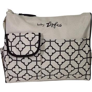 BABY ZIGGLES 91873 Trendy Royal Print Design Diaper Bag, Ivory/Brown Multi-color