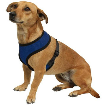 OxGord Pet Control Harness for Dog & Cat Easy Soft Walking Collar - Vehicle Safety Strap Vest - Medium Blue