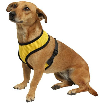 OxGord Pet Control Harness for Dog & Cat Easy Soft Walking Collar - Vehicle Safety Strap Vest - Medium Yellow