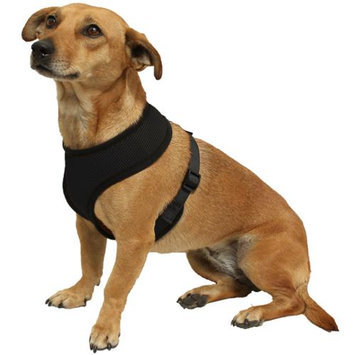 OxGord Pet Control Harness for Dog & Cat Easy Soft Walking Collar - Vehicle Safety Strap Vest - Medium Black
