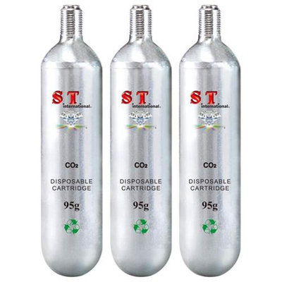 S.T. International CO2 Cartridge Refill - Disposable Cylinder 3 Pack, 95g
