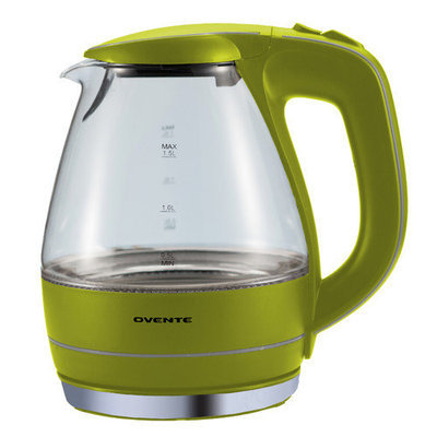 Ovente KG83W White 1.5-liter Glass Electric Kettle
