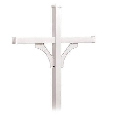 Salsbury Industries Deluxe 2-Sided In-Ground Mounted Mailbox Post for Rural Mailboxes 4874WHT