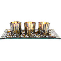 Stonebriar Collection Olive Mosaic Candle Garden