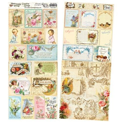 Crafty Secrets CSCS-13 Heartwarming Vintage Creative Scraps Dble-Sided 9.5 in. x 8 in. Fold-Little Blessings