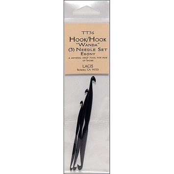 Lacis Double End Crochet Hook With Center Indent, Ebony, 3-Pack
