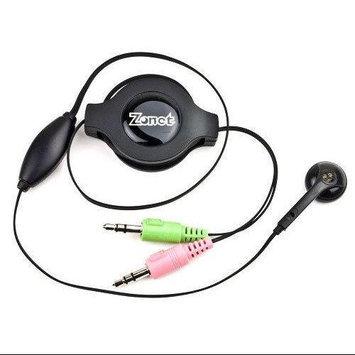 Zonet Retractable Stereo Headphones w/Inline Microphone & 3.5mm Jacks (Black)