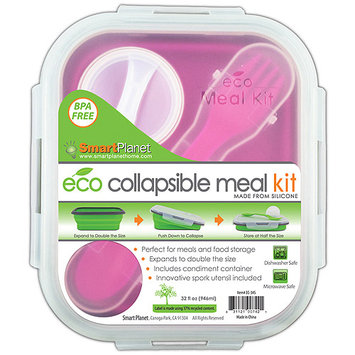 Smart Planet 276220 Smart Planet Small 1-Compartment Eco Silicone Collapsible Lunch Box -Pink