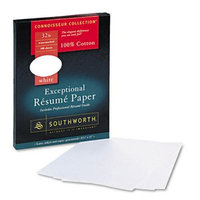 Southworth Résumé Paper, 8 1/2x11, White, 32 lb, 100