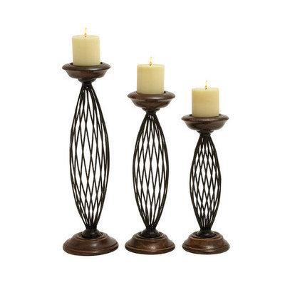 Benzara 14460 Metal Wood Candle Holder Set of 3