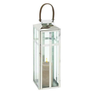 Woodland 23606 Traditional Style Designer steel candle lantern with faux leather handle