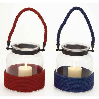 Benzara The Cute Glass Metal Rope Lantern 2 Assorted