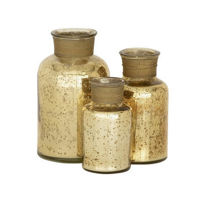 Benzara 24126 Show off with Glass Gold Bottle Set of 3