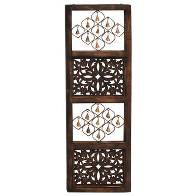 Benzara 24218 Bell Wall Panel Wood