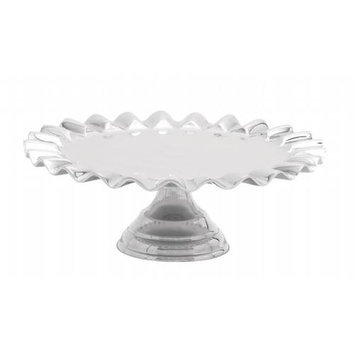 Woodland 27476 Exquisite Cake Stand in Glossy Silver Finish with Curved Edge Design