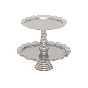 Woodland 27482 Stainless steel two tiers cupcake stand designed with curved edges