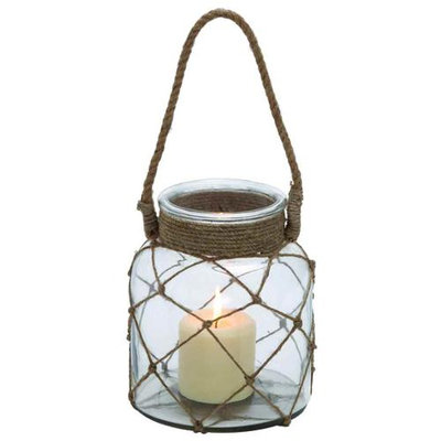 Woodland 28855 Jute Rope Netted Glass Jar Candle Lantern with a Sturdy Rope Handle