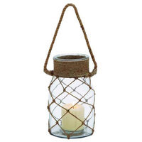 Benzara Smart Styled Opaque Glass Rope Candle Lantern