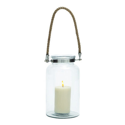 Benzara Eye Catching Glass Metal Lantern Rope Handle